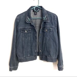 Vintage Floral Embroidered Denim Jean Jacket